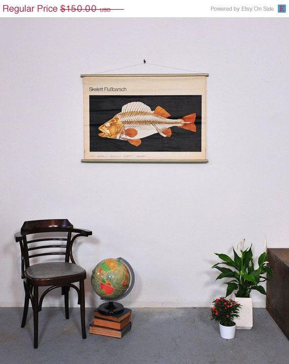 SALE Fish Skeleton Vintage School Chart  Perch  by Discoverprints