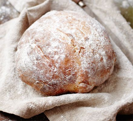Baking a loaf of this dense, chewy bread requires making a fermented 'starter' from flour, but it's worth the effort
