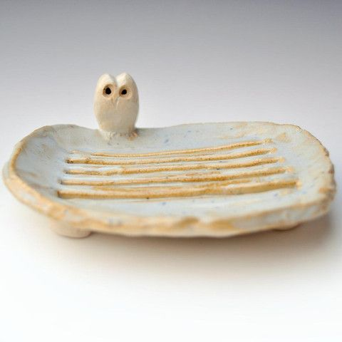 Ceramic Handmade Owl Soap Dish from Lee Wolf Pottery - possibly the cutest thing I have ever seen!