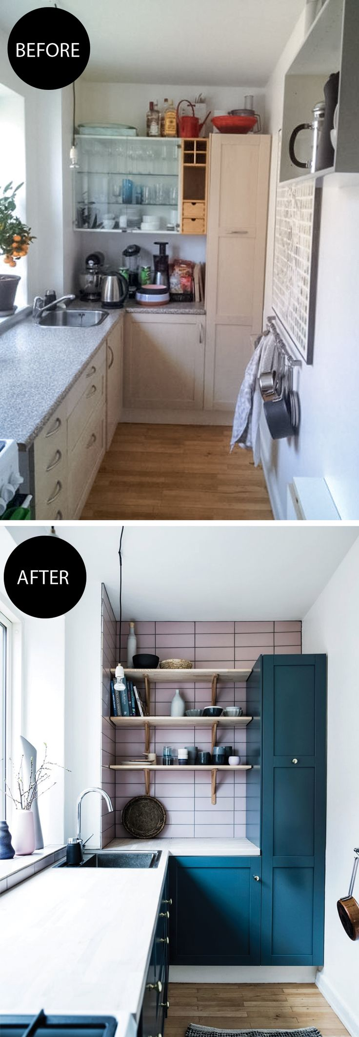 Small space kitchen remodelling on a budget: New colorful cabinets and wall tiles and pretty open storage. See the makeover here!