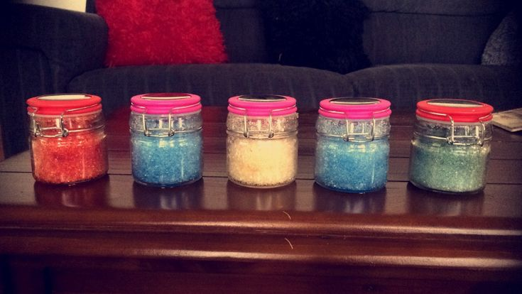 Homemade bath salts! Visit my website to find out how to make these!
