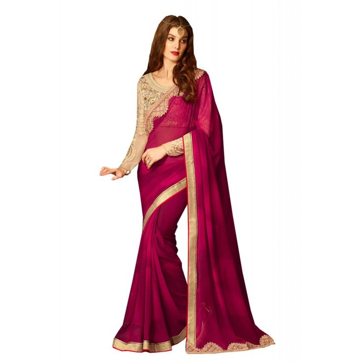 This Magenta #Georgette Saree is adding the charming glamorous showing the feel of cute and graceful. The ethnic Lace & Resham work at the clothing adds a sign of attractiveness statement with your look.