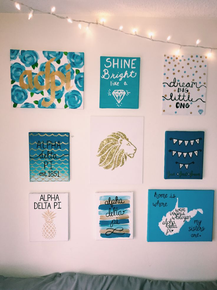 Alpha Delta Pi (ADPi) sorority canvas Art by Andrea Hill and picture taken by Megan Gundy