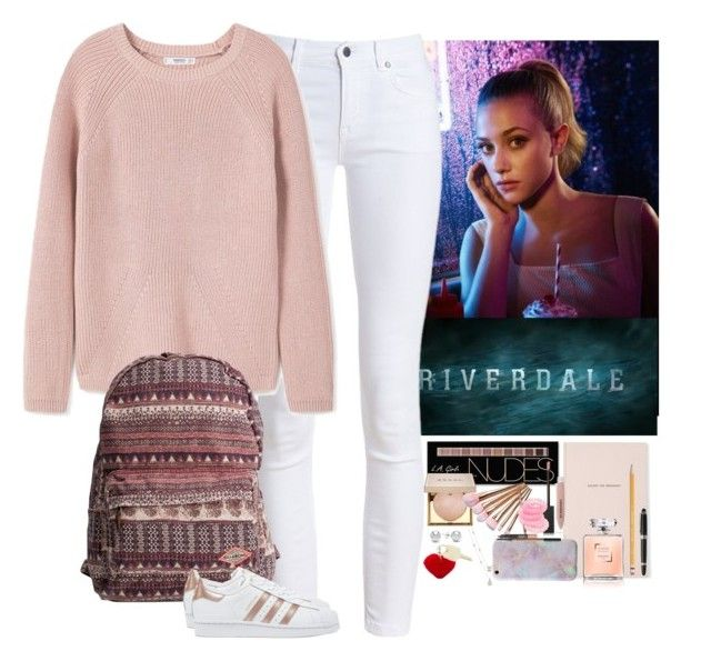 Riverdale - Betty Cooper by nikkilubyou on Polyvore featuring polyvore, fashion, style, MANGO, Barbour, adidas Originals, Billabong, Jewelonfire, Miss Selfridge, Rebecca Minkoff, Charlotte Russe, Stila, Burberry, NARS Cosmetics, Kate Spade, Paper Mate, HUGO, The Giving Keys, clothing, riverdale and bettycooper