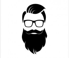 Long beard hipster head portrait vector set 06