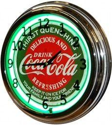 """17"""" Green Neon Clock - COCA COLA COKE"""