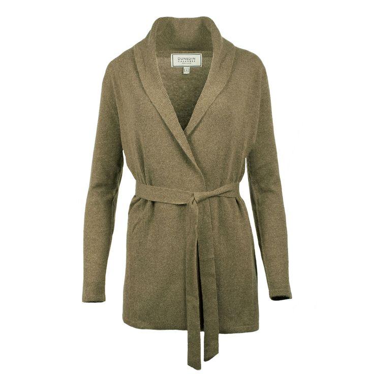 Ladies Cashmere Belted Plain Cardigan