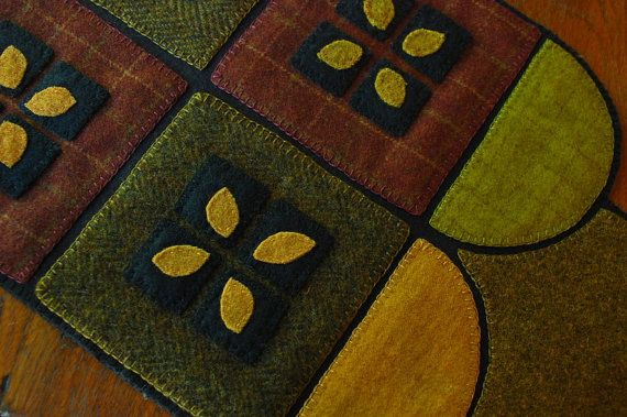 Penny rug hand dyed green gold red brown rug hooking wool primitive applique quilt block table runner topper candle mat folk art felted wool