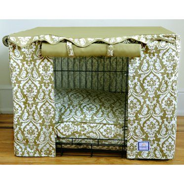 Features:  -Double doors.  -Tan and cream colors.  -Dry clean only.  -Cover does open on both the wide, and narrow sides of the cage.  -Pet bed is not included.  Product Type: -Crate cover.  Pet Categ
