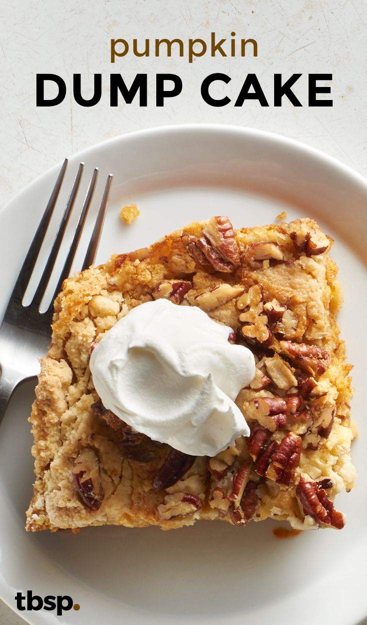 """An easy fall cake that is """"dumped"""" into a pan and baked. The smell of the pumpkin and spices baking will bring fall right into your house. This is a great alternative to your everyday pumpkin pie, for those of you who want to switch it up a bit."""