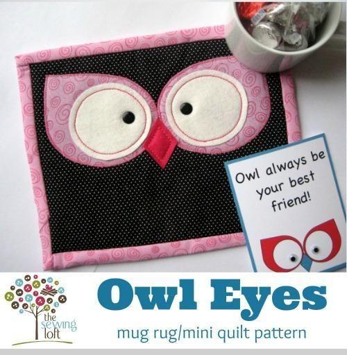 (7) Name: 'Quilting : Owl Eyes Mini Quilt / Mug Rug- $3