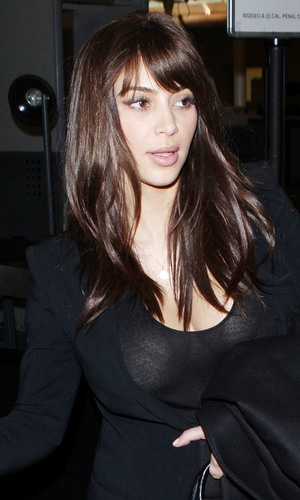 Kim Karsashian arrives at Los Angeles International Airport, America - 18 Dec 2012 new hair