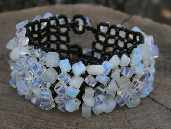 OPALITE BRACELET, black white Bracelet, Beaded gemstone BEADED cuff, boho Beadwork art, cuff bracelet, victorian Bracelet, goth Bracelet
