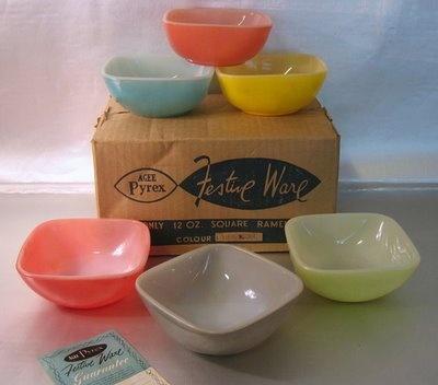 "retro collectables: Set of 6 Agee Pyrex ""Festive Ware"" ramekins, with original box"