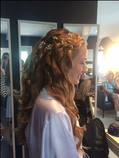 Bridal Hair #SideView #HairFlowers #LongWaves #urbanSpaHairDesigns