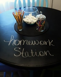 Chalk board table for the school-age kids.
