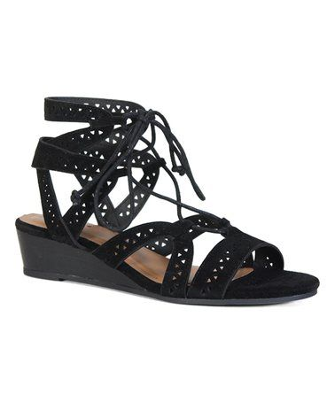 Another great find on #zulily! Black Talented Gladiator Wedge Sandal #zulilyfinds