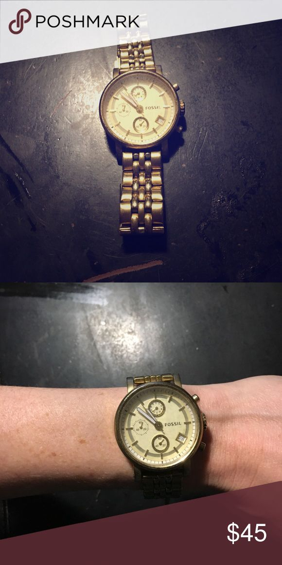 Gold plated oversized Fossil watch Gold plated oversized Fossil watch. Battery needs to be replaced. Fossil Accessories Watches