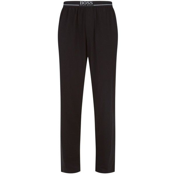 BOSS Logo Waistband Lounge Trousers (950 EGP) ❤ liked on Polyvore featuring men's fashion, men's clothing, men's pants, men's casual pants, mens stretch pants, mens cotton pants, men's casual cotton pants, mens elastic waist pants and mens stretch waist pants