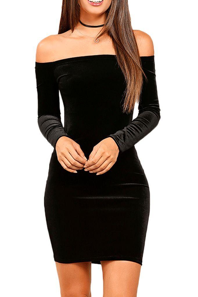 Off Shoulder Velvet Dress