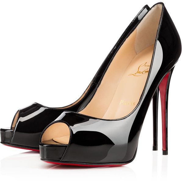 Christian Louboutin New Very Prive ($845) ❤ liked on Polyvore featuring shoes, pumps, heels, christian louboutin, louboutin, black, black peep toe pumps, patent leather pumps, black stilettos and high heel shoes