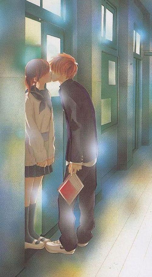 ✮ ANIME ART ✮ anime couple. . .romantic. . .love. . .sweet. . .school uniform. . .seifuku. . .sailor uniform. . .knee socks. . .cardigan. . .sweater. . .hallway. . .kiss. . .sparkling. . .cute. . .kawaii