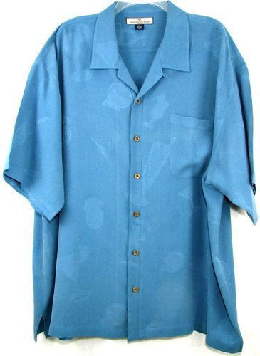 TOMMY BAHAMA RELAX SHIRT Button Front Short Sleeve 2XL BLUE Tropical Drink Print
