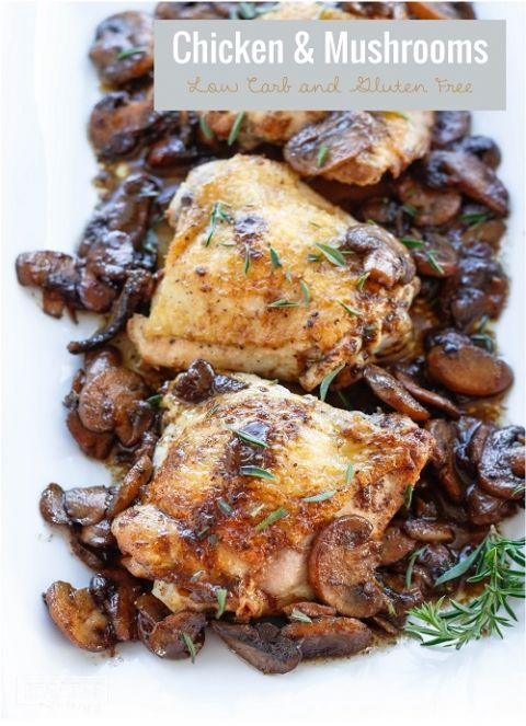 This easy low carb chicken & mushrooms recipe can be cooked in your cast iron skillet for crispy skin! Keto, Paleo and Whole 30 friendly!