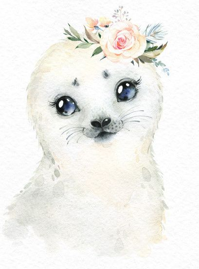 Snowy Reindeer White Owl Seal Watercolor little animals clipart baby caribou north portrait Arctic Winter flower kid nursery art baby-shower
