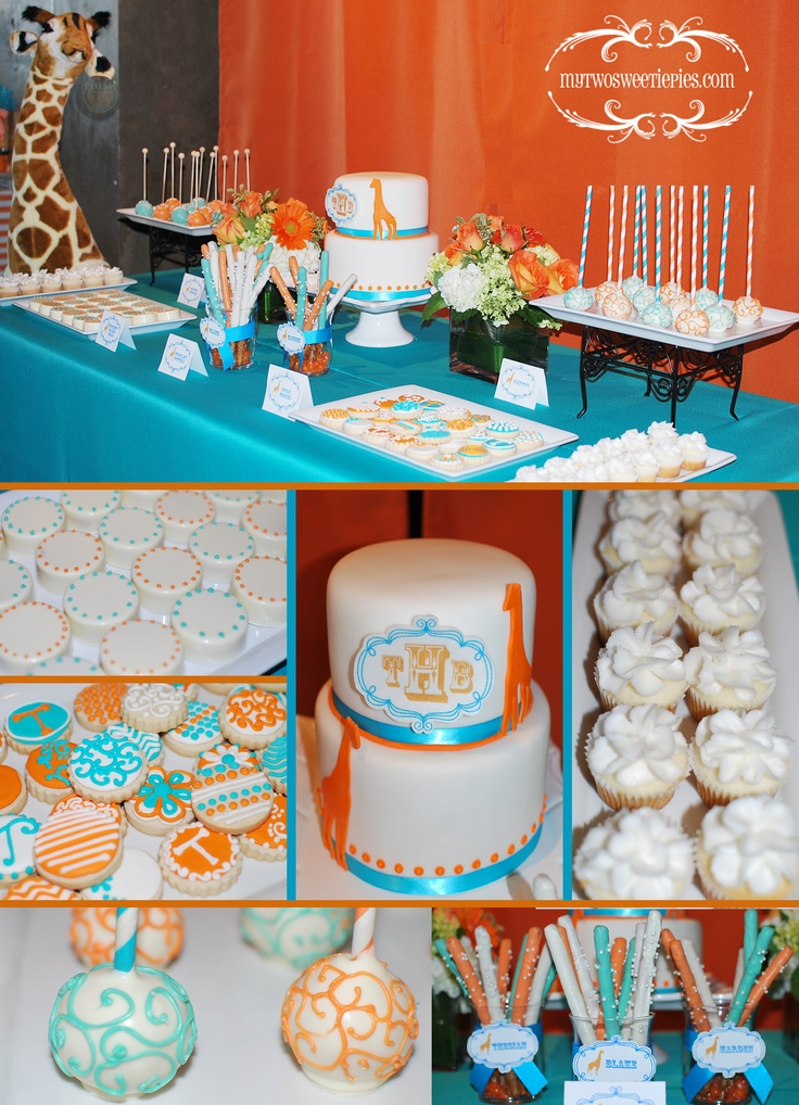 teal and orange baby shower giraffe theme