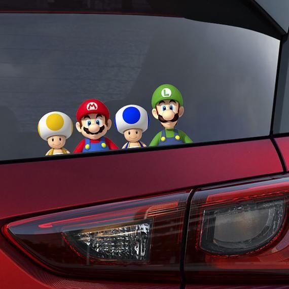 Super Mario Gang Peeking Car Decal Wall Sticker Gift Kids