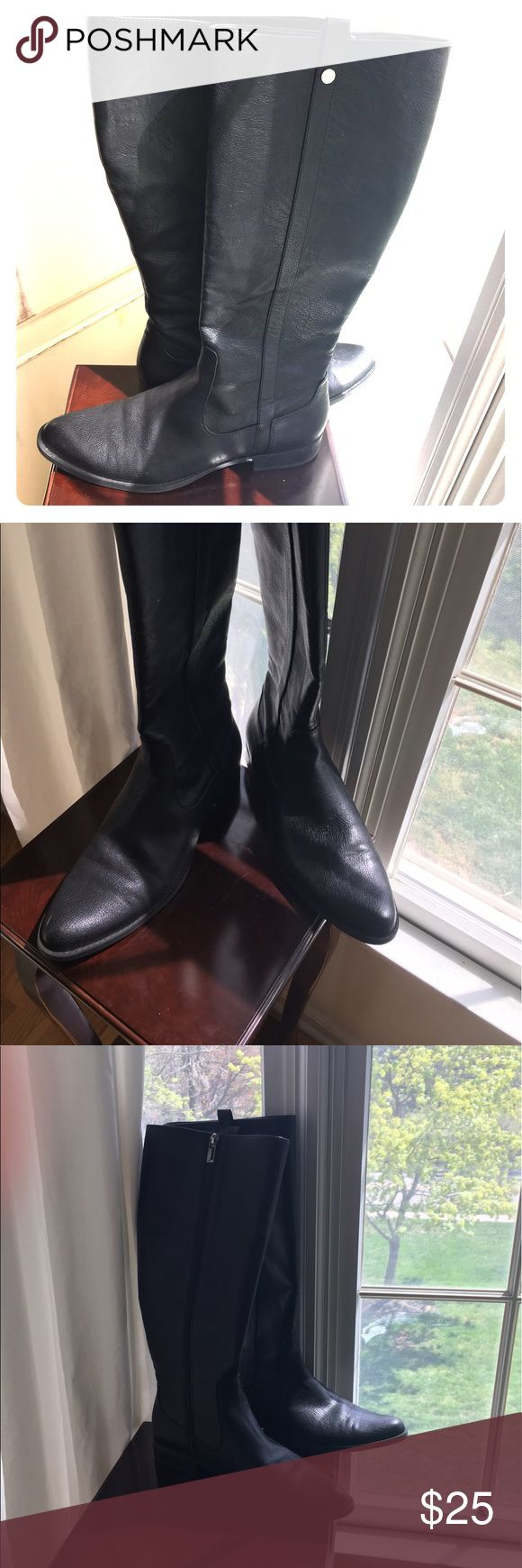 "Calvin Klein Black Leather Riding Boots Beautiful ""Calvin Klein Talloria Black Tumbled Boot"". Gorgeous leather riding boots in great condition. Flat heel. Calvin Klein Shoes Heeled Boots"
