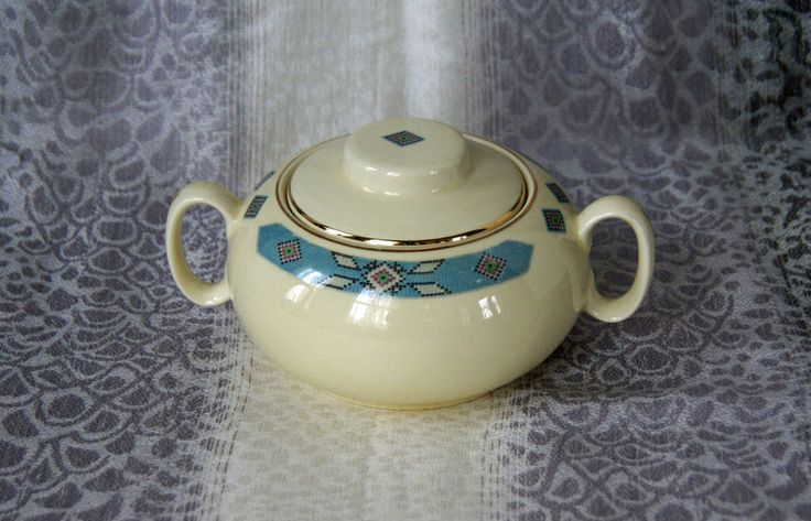 Cavitt Shaw ~ Sugar Bowl and Lid ~ Cherokee Pattern ~ W.S. George Co. ~ 1930s-40s ~ Cream Colored with Blue/Black Southwestern Design by JingleBeanFarm on Etsy