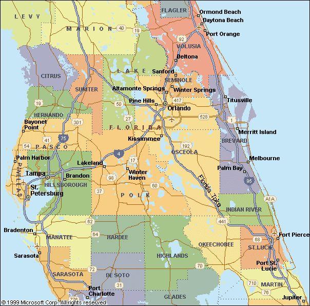 Map Central Florida Area