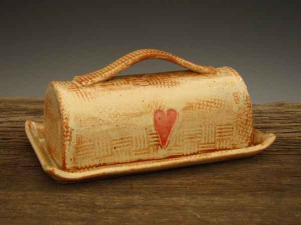 Rustic Butter Dish with Country Heart  by DirtKickerPottery, $45.00