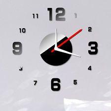 Modern DIY Wall Clock 3D Mirror Sur...