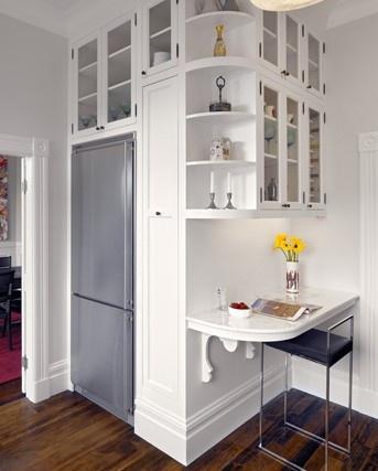 Love the shelves and little desk!