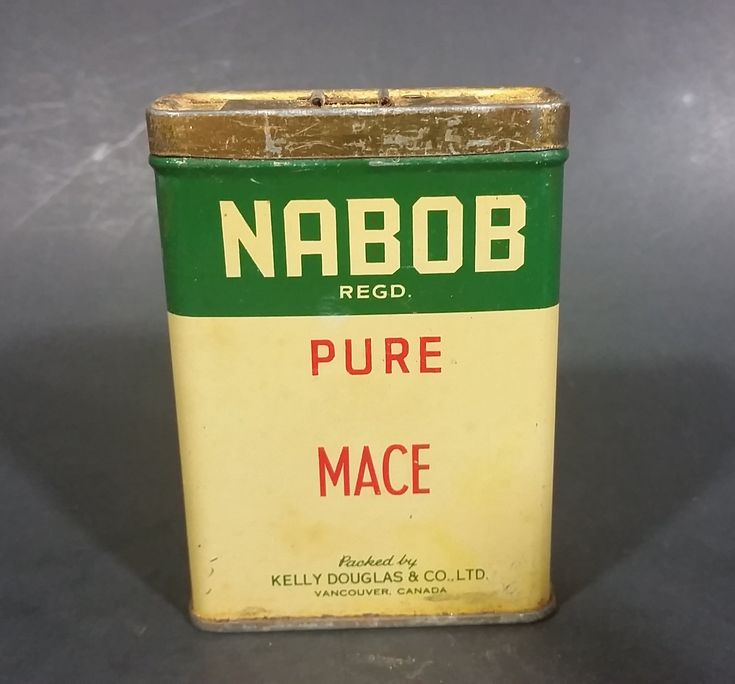 Vintage Nabob Foods Vancouver Pure Mace Powder Spice Tin - Still has product inside https://treasurevalleyantiques.com/products/vintage-nabob-foods-vancouver-pure-mace-powder-spice-tin-still-has-product-inside #Vintage #VintageTins #Tins #Nabob #Foods #Vancouver #Canada #Canadian #Pure #Mace #Spice #Kitchen #Collectibles #KellyDouglas #Packers #Chef #Decor #Cooking #Cooks #Flavor