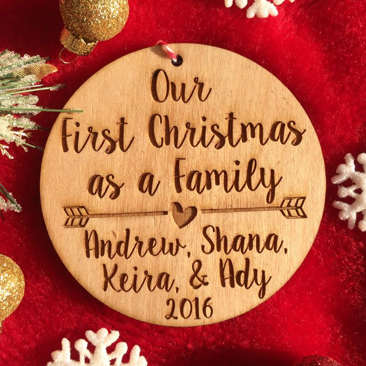 Personalized First Christmas as a Family Ornament - Personalized Wood Ornament, Family Christmas, Adoption Ornament, Wedding Gift, Adopted by 55OnlineBoutique on Etsy https://www.etsy.com/listing/209618799/personalized-first-christmas-as-a-family