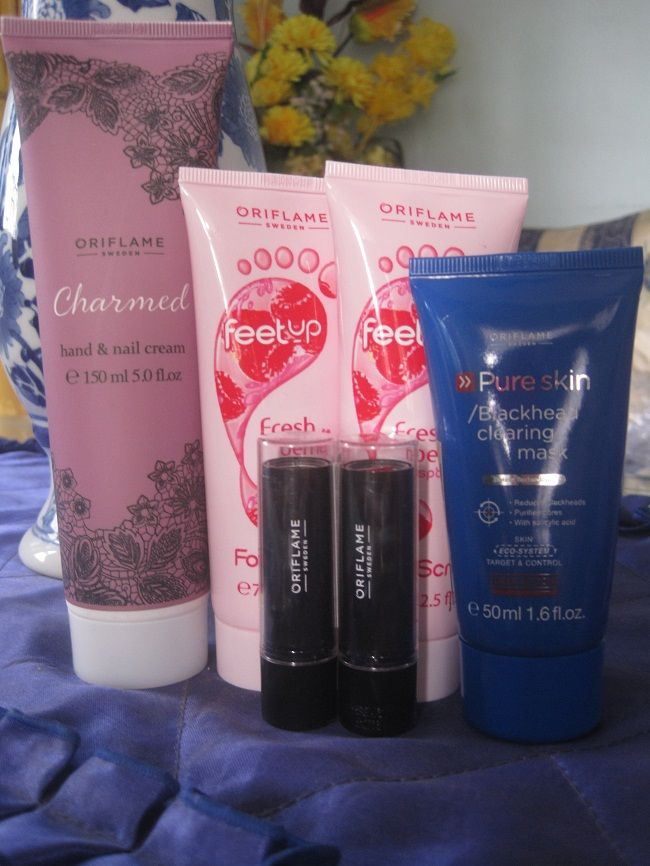 Must have #charmed hand and nail cream with extract floral, #feetup fresh berry foot scrub. #pureskin blackhead/clearing mask and deep action plus lovely #purecolour brilliat red and desserts pink lipstick <3