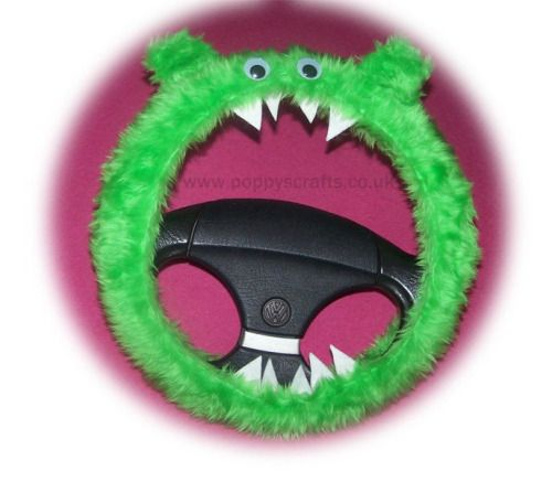 (via Funky Bright Lime Green fluffy fuzzy Monster Steering wheel...