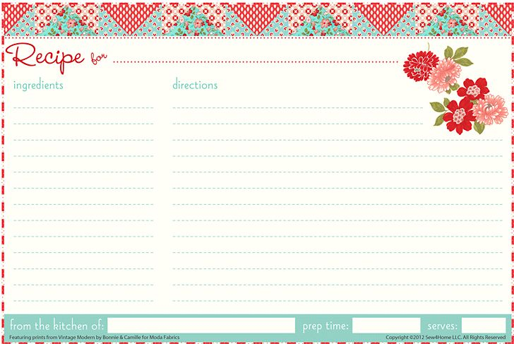 Printable Recipe Cards. REALLY last minute, bake something yummy and include the recipe.