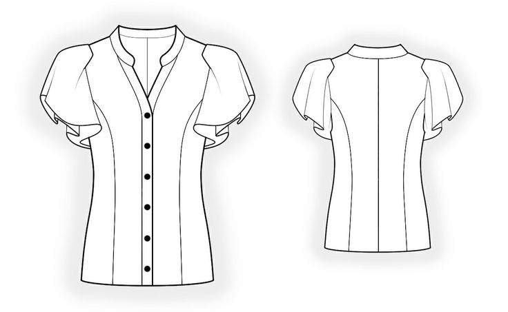 Blouse  - Sewing Pattern #4370 Made-to-measure sewing pattern from Lekala with free online download. Semi-fitted, Princess seams, Buttoned, Flounce, V neck, Stand collar, Short sleeves, Set-in sleeves, No pockets