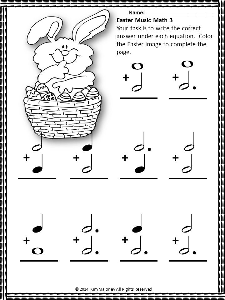 Easter Themed music math sheets.