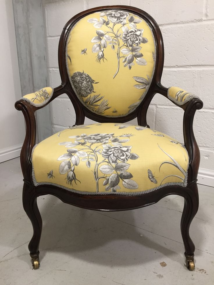 Traditional Mahogany Nursing chair in Sanderson Parchment Flowers Etchings & Roses linen