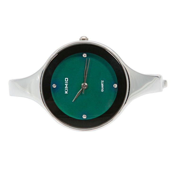 Simple Four Rhinestones Studded Round Dial Quartz Female Watch Black Variable Color