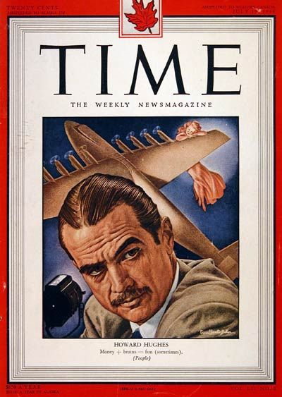 1948 original vintage Time magazine cover only. Featuring movie mogul, aircraft designer and multi-millionaire Howard Hughes.