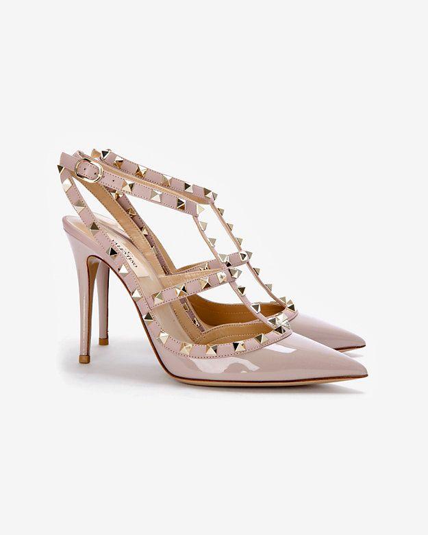Dream shoe! Valentino Rockstud Slingback Patent Leather Stiletto: Nude