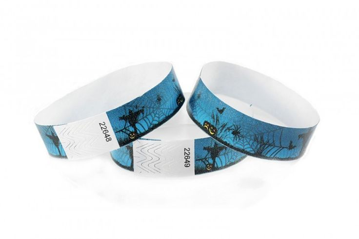 """""""Scarecrow"""" Tyvek® 3/4"""" Pattern Wristbands perfect for Halloween parties or any other special event. www.medtechgroup.com #Halloween #Wristband #Bats #Events #Admission #Ticket"""
