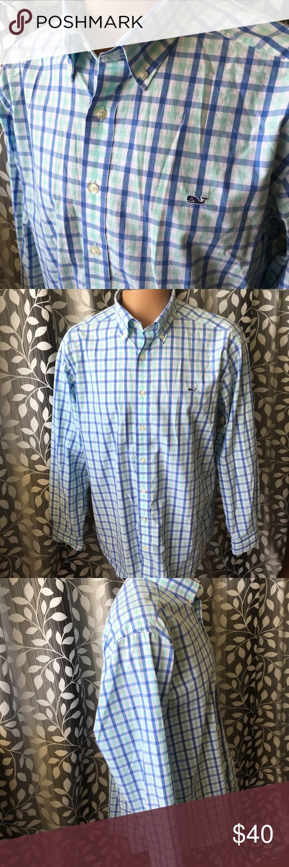 """Vineyard Vines long sleeve whale shirt slim fit XL Great Vineyard Vines whale shirt! Cool Plaids with button down collar. Size XL slim fit. Armpit to armpit- 24.5"""" shoulder to shoulder- 20.5"""" neck to bottom tail- 31"""". Two tiny pin size hole on upper backside. Please see photo. Thanks! Vineyard Vines Shirts Casual Button Down Shirts"""